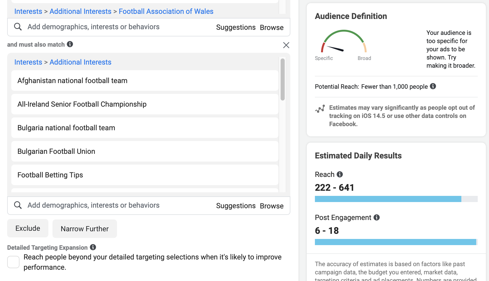 interestinsights interests added to narrow audience