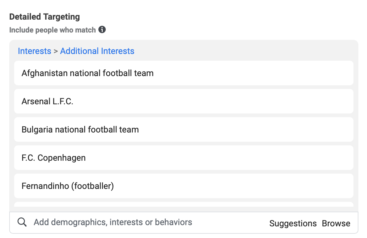 interestinsights interests in detailed targeting on Facebook