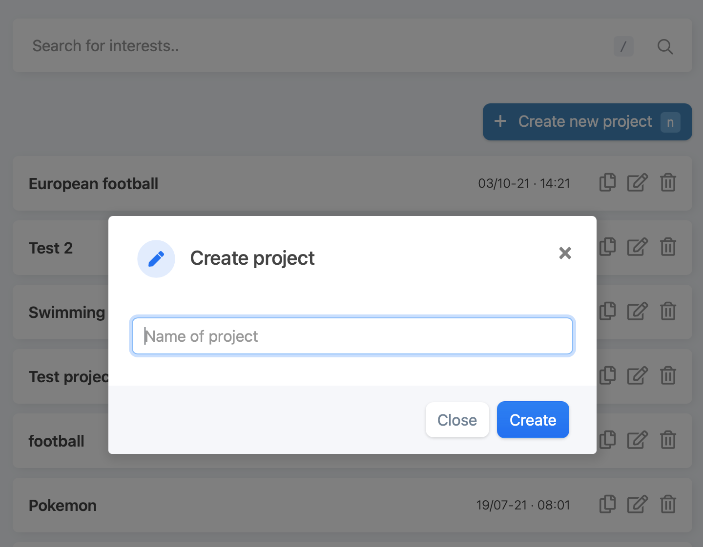 interestinsights creating a project through the projects page